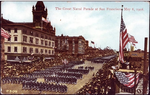 NH 106179: Sailors of the Great White Fleet at a parade in San Francisco.