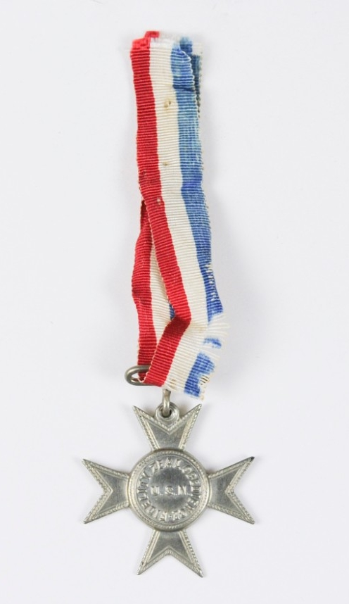 Type I Maltese Cross silver medal good conduct with ribbon cut red white and blue