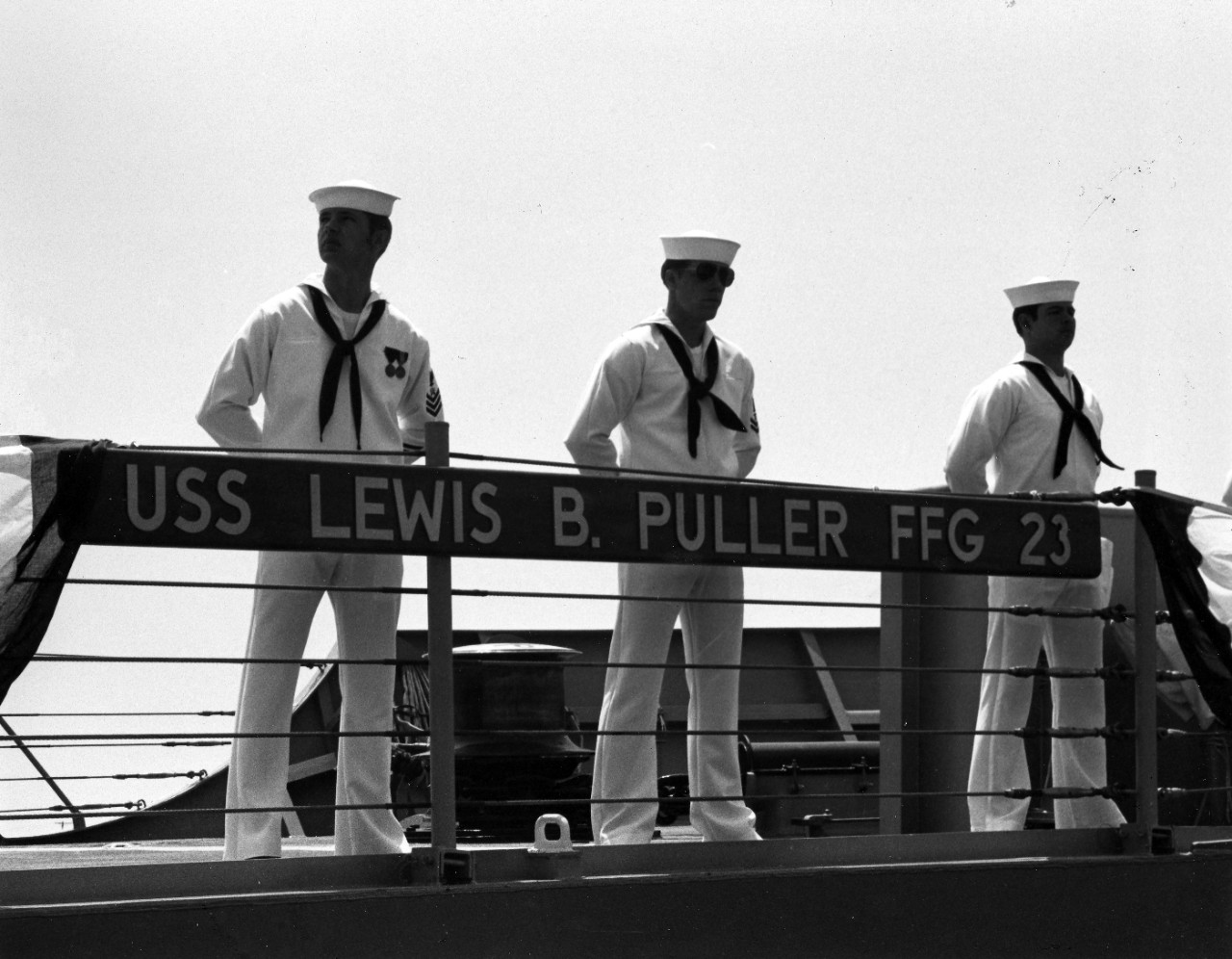 Manning the rails aboard USS Lewis B. Puller (FFG-23).