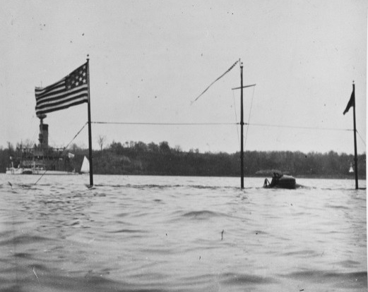 Holland (Submarine Torpedo Boat # 1) partially submerged off the U.S. Naval Academy, Annapolis, Maryland