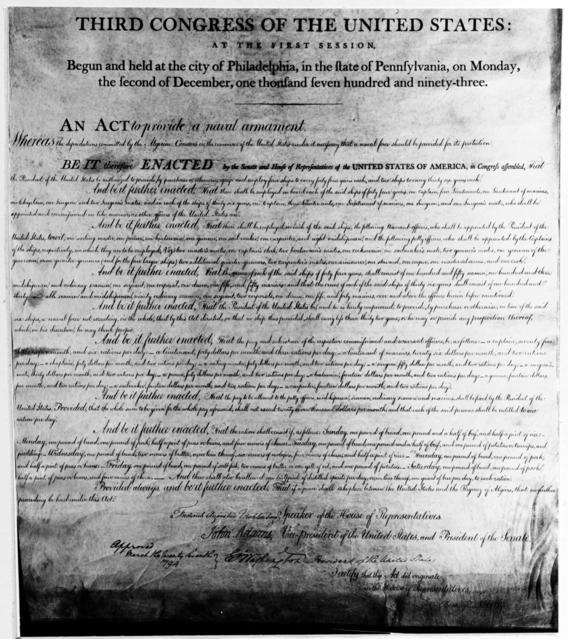 "Photo #: NH 85796  ""An Act to provide a naval armament"""