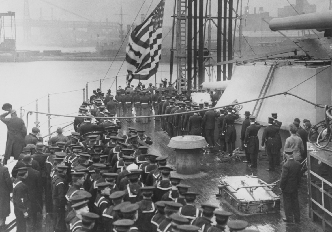 USS New York (BB-34) during her commissioning ceremonies, 15 April 1914