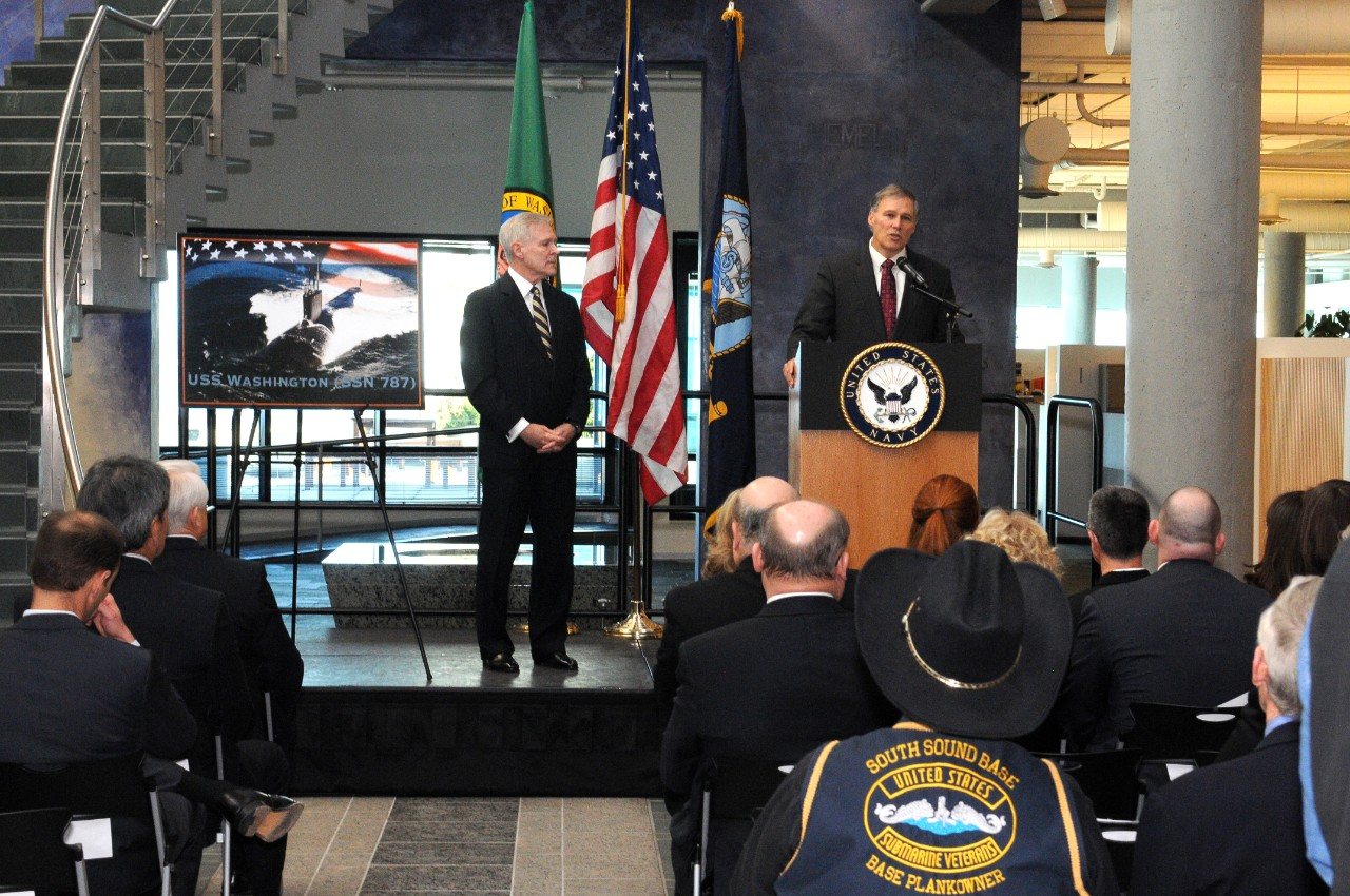 Washington Gov.  Jay Inslee delivers his remarks celebrating the naming of the Navy's next Virginia-class submarine, USS Washington (SSN 787), at the Port of Seattle Headquarters Building at Pier 69.