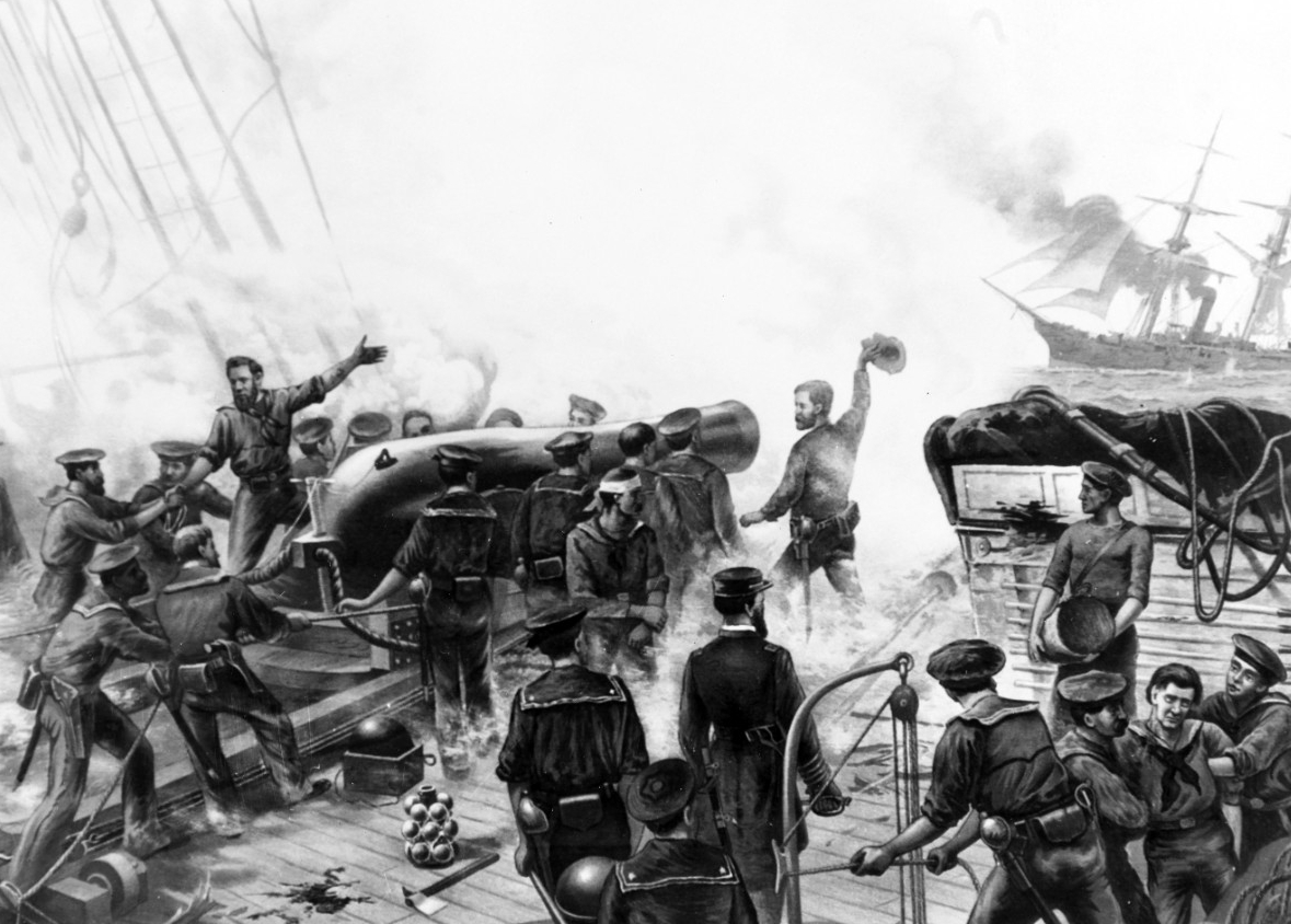 "Photo #: NH 1261  ""Hauling Down the Flag -- Surrender of the Alabama to the Kearsarge off Cherbourg, France, 19 June 1864"""