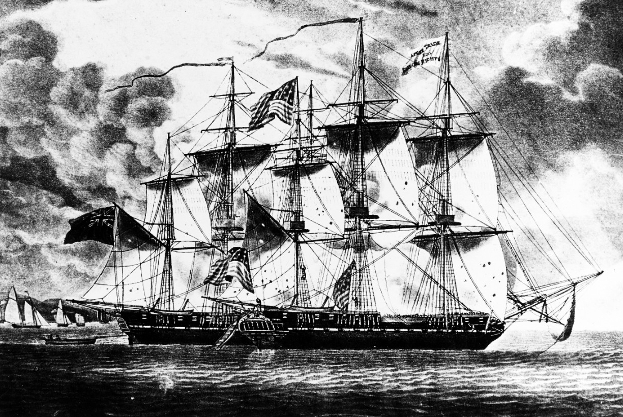 Photo #: KN-10953 Action between USS Constitution and HMS Guerriere, 19 August 1812