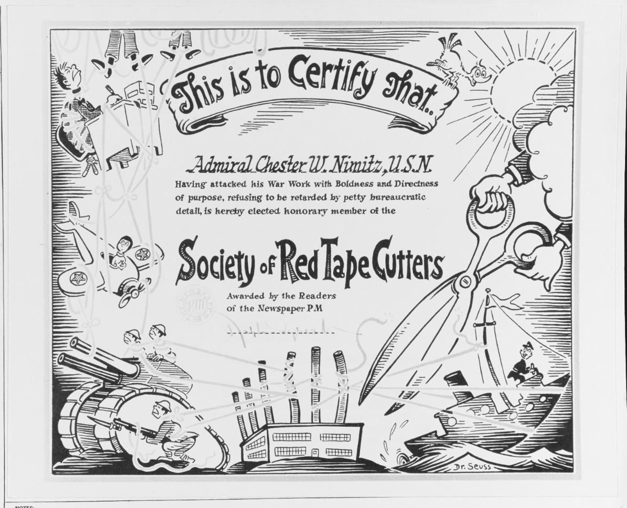 """Red Tape Cutters"" Certificate"