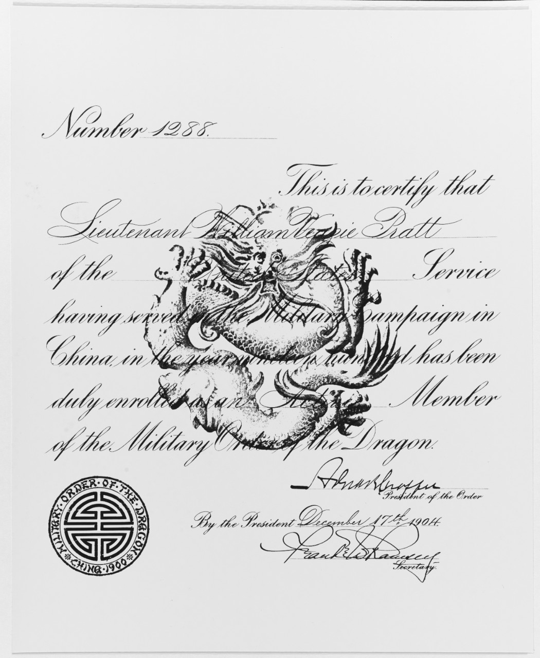 Certificate presented to Lieutenant William V. Pratt, USN