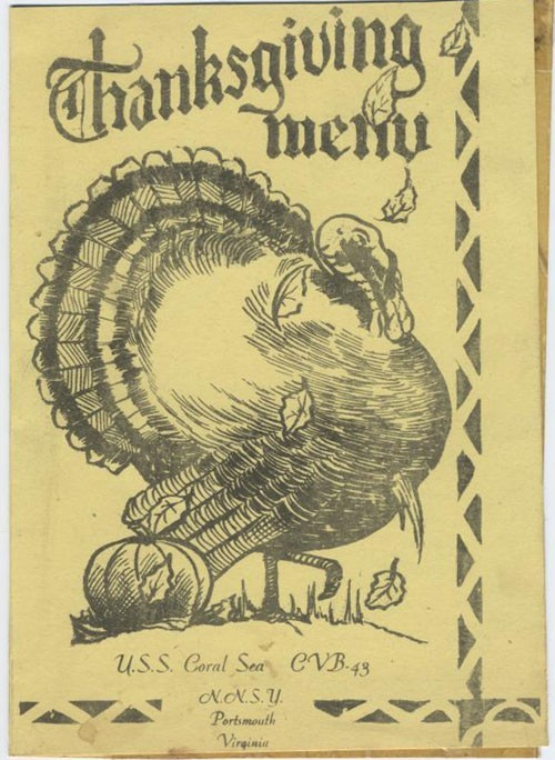 1948 USS Coral Sea Thanksgiving menu