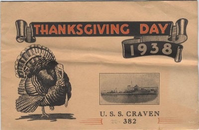 Thanksgiving Day 1938, U.S.S. Craven 382.