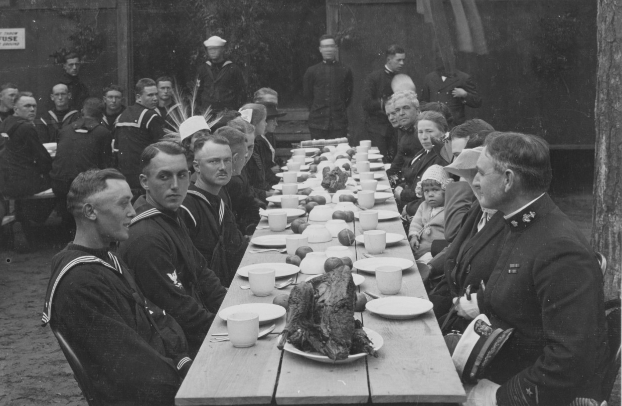 Commander and Mrs. Ellis Thanksgiving Dinner at the First Regiment at the U.S. Naval Training Camp, Charleston