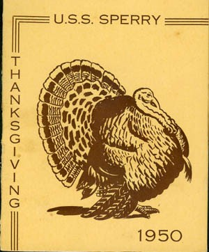 Cover - Thanksgiving Menu, U.S.S. Sperry, 1950.