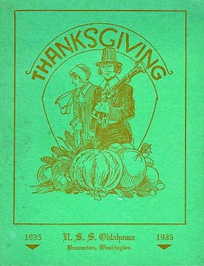 Cover - Thanksgiving Menu, U.S.S. Oklahoma, Bremerton, Washington, 1935.