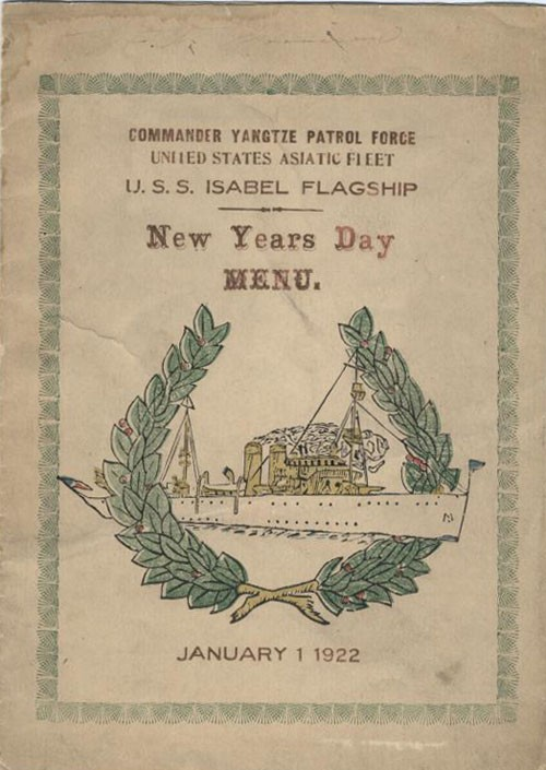 Commander Yangtze Patrol Force, United States Asiatic Fleet, New Years Day Menu, January 1 1922.