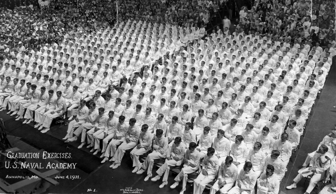 Graduation exercises at the US Navy Academy, Annapolis, MD - June 4, 1931. CAPT Lowell W. Williams Collection.