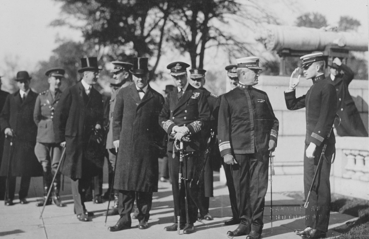 Sec. Daniels, Prince of Wales, Rear Admiral Archibald Scales, -Supt of Academy-, Asst. Sec. Roosevelt and others at Naval Academy, Annapolis Maryland