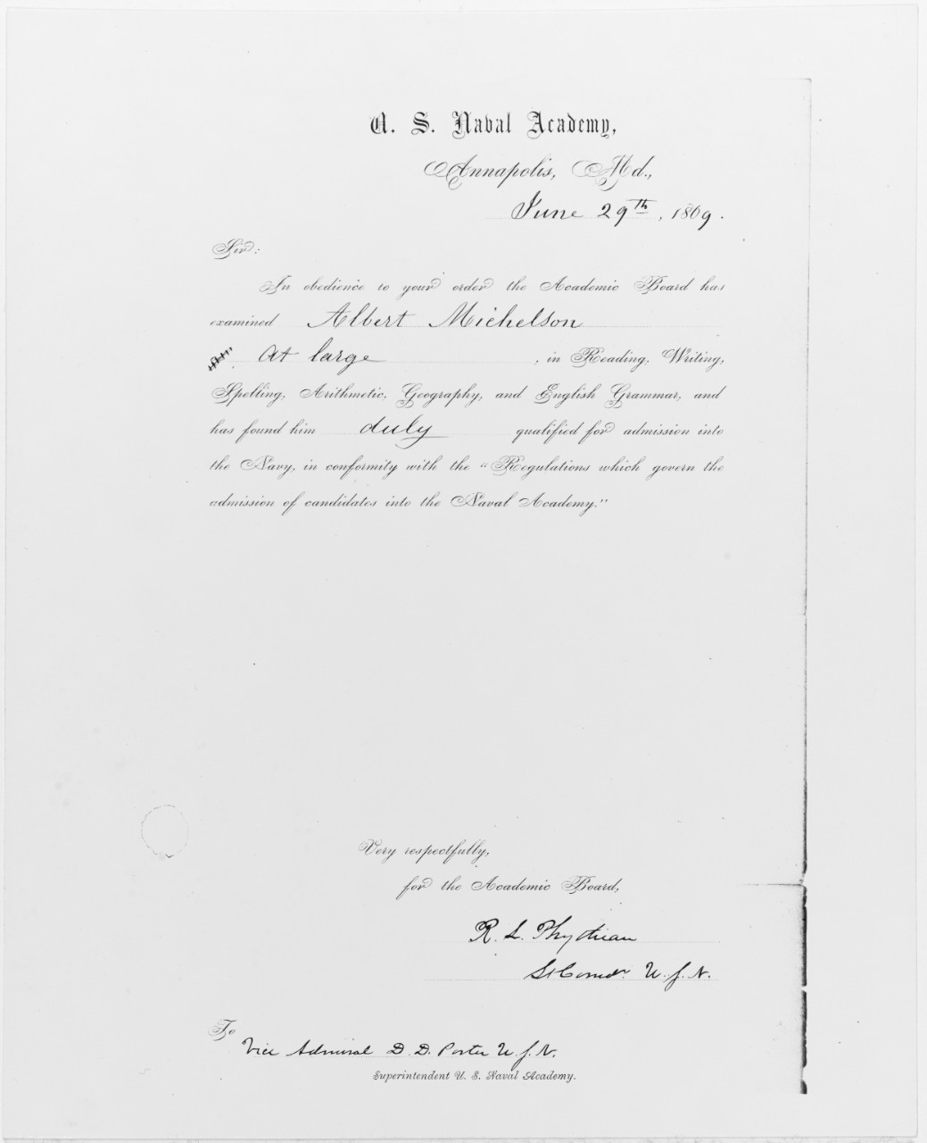 Michelson letter advising him of his qualifying to enter the Naval Academy