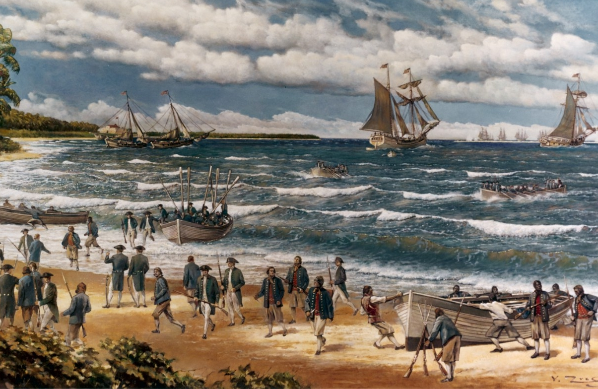 Oil painting on canvas by V. Zveg, 1973, depicting Continental Sailors and Marines landing on New Providence Island, Bahamas, on 3 March 1776.