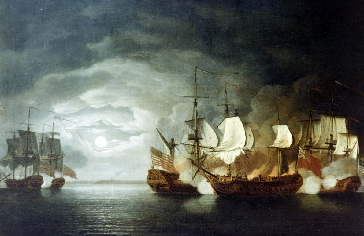 Photo #: KN-10855 Battle between Continental Ship Bonhomme Richard and HMS Serapis, 23 September 1779