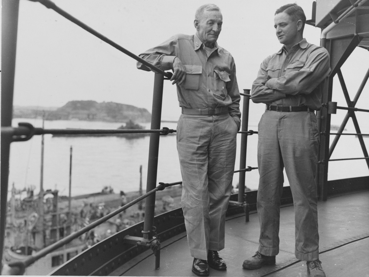 Vice Admiral John S. McCain, USN, with his son, Commander John S. McCain, Jr.