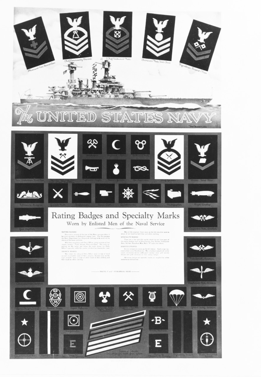 "NH-95876-KN. Recruiting Poster: The United States Navy"" rating badges and specialty marks."