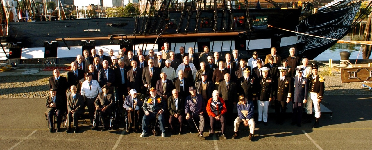 More than 70 Medal of Honor recipients gather for a group photo in front of USS Constitution. U.S. Navy photo.