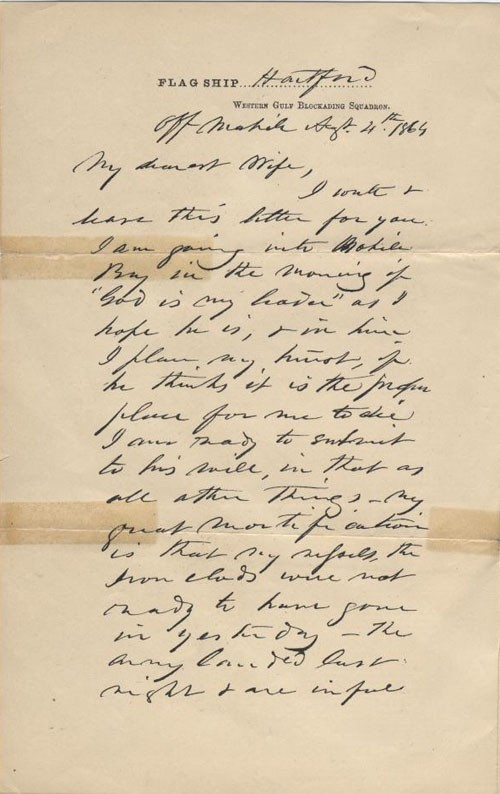 Image of 1st page of Admiral Farragut's letter to his wife.