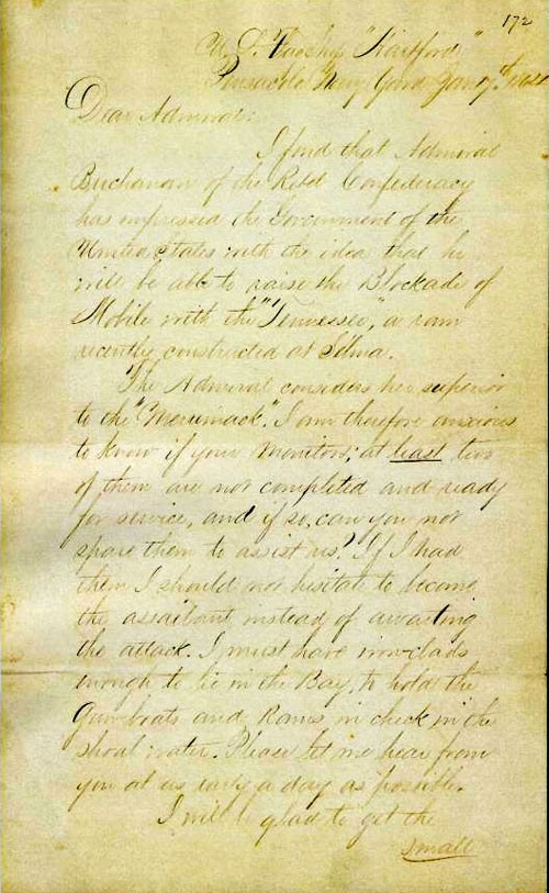 Image of 1st page of Admiral Farragut's letter to Rear Admiral Porter.