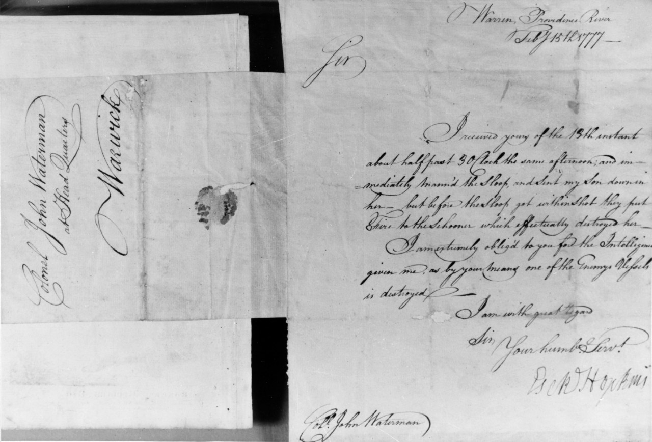 Photo #: NH 43297  Letter from Commodore Esek Hopkins to Colonel John Waterman, 15 February 1777