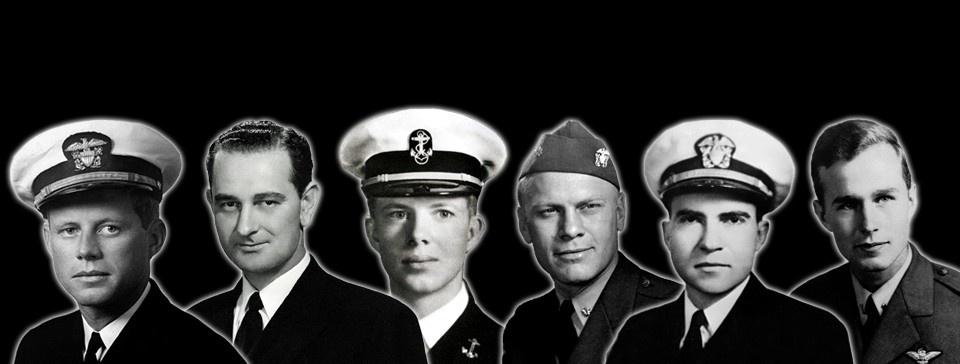 Portraits of the six U.S. Presidents who served in the Navy (Johnson, Kennedy, Nixon, Ford, Carter, George H. W. Bush)