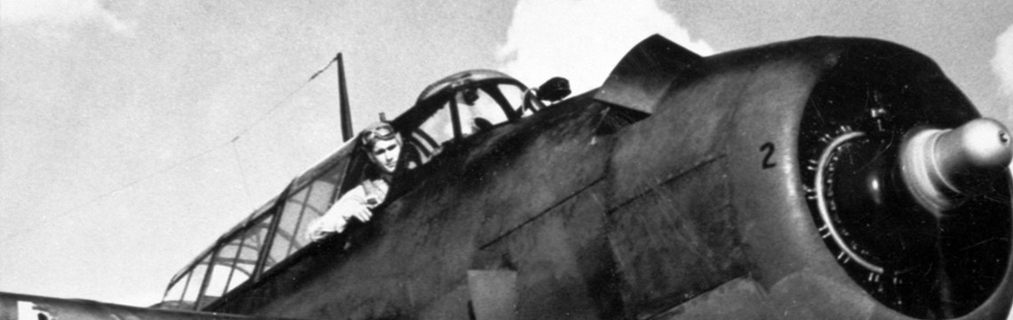 Navy Pilot George H. W. Bush in TBM Avenger, 1944. Photo courtesy George Bush Presidential Library and Museum.
