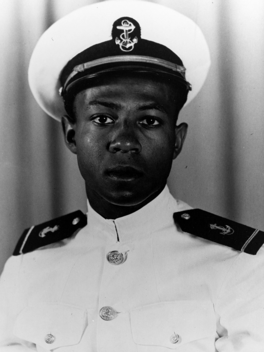 Midshipman Jesse L. Brown, USN, Photographed at Naval Air Station, Jacksonville, Florida, October 1948, while serving as a Naval Aviation Cadet. (80-G-706531)