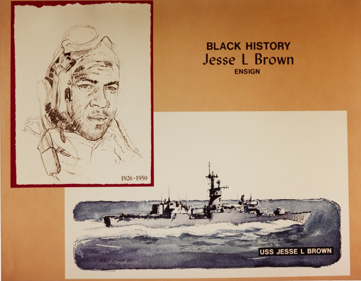 """Black History"" poster featuring Ensign Jesse L. Brown. The original artwork was created circa 1976 by William M. Moser, of the Navy Recruiting Command. (NH 94599-KN)"