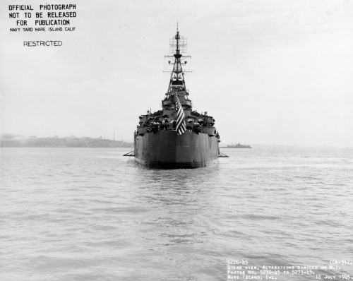 USS Indianapolis (CA-35) view from astern, off Mare Island, 10 July 1945