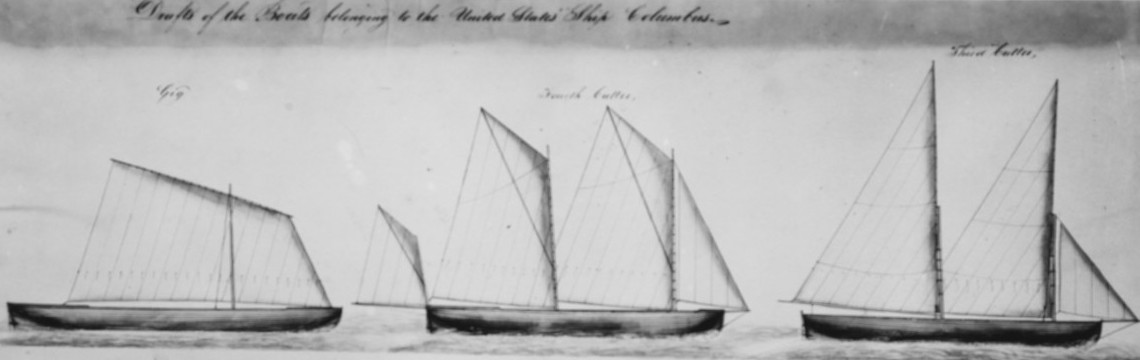 USS COLUMBUS, 1816-1861. Detail from sail plans of the ship's boats by C. Ware Boston Navy Yard circa 1840.