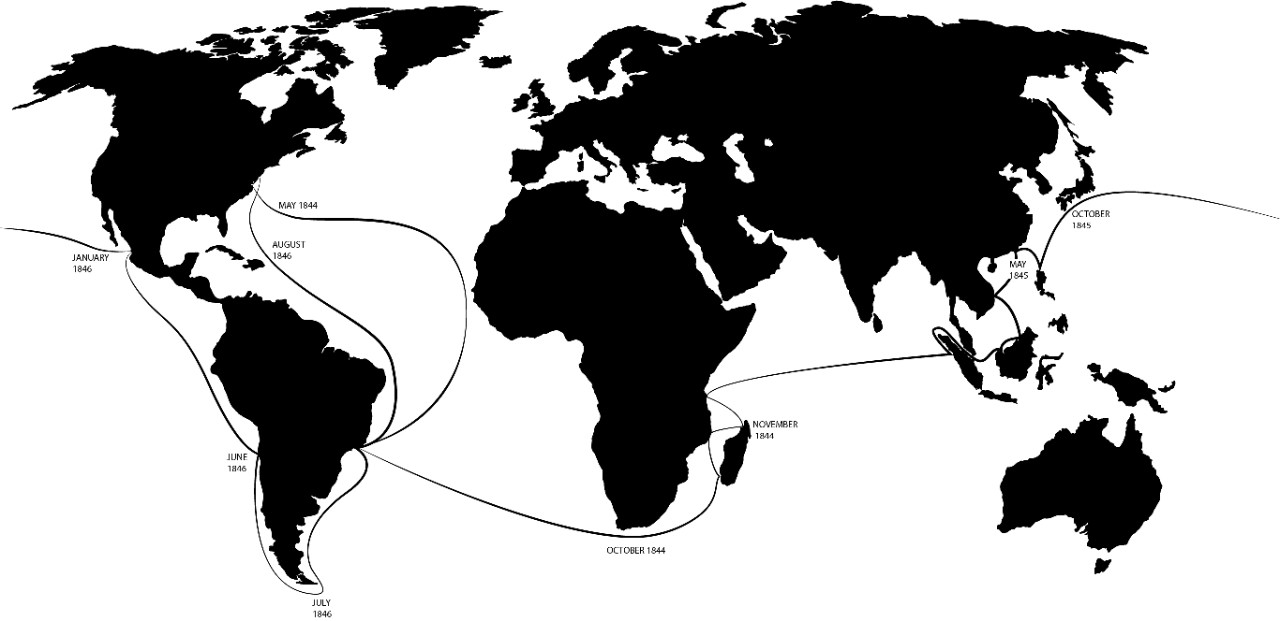 Map of USS Constitution round-the-world cruise, 1844-46