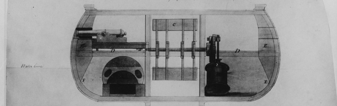 Steam Battery Demologos (later Fulton) (1814) Drawing by her designer, Robert Fulton, November 1813, showing the ship's general arrangement.