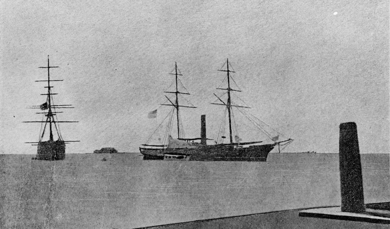 Saginaw (Side-wheel Steamer), 1860-70. Built at the Mare Island Navy Yard in 1859. Naval History and Heritage Command photograph. (NH 2012)