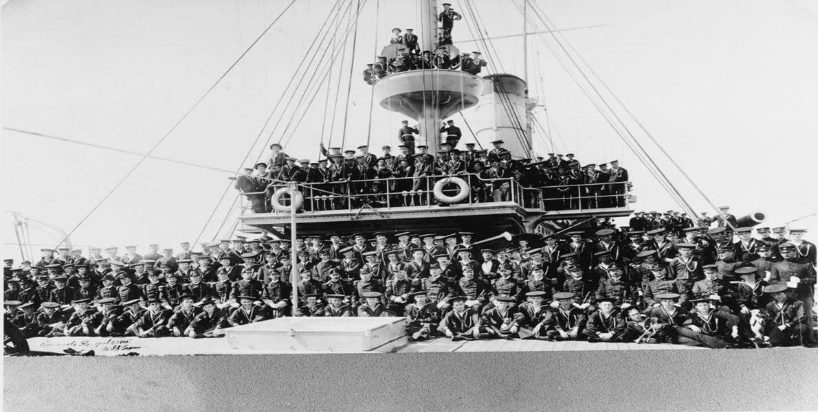 Texas (1895-1911) officers and crew, photographed at Pensacola, Florida.