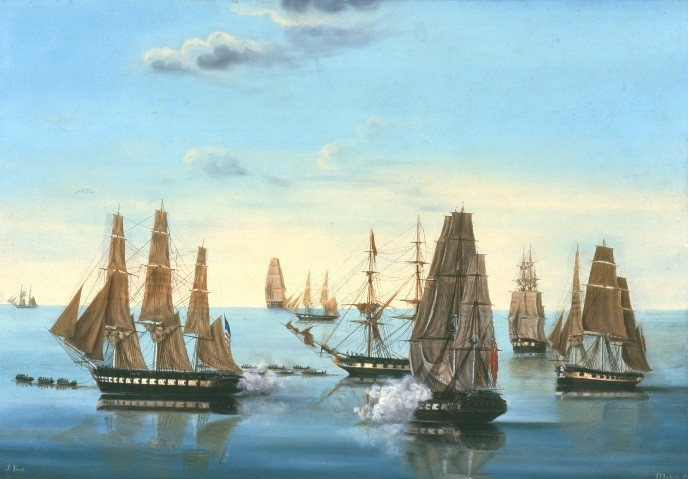 "Painting depicting Constitution's ""great escape,"" 17-19 July 1812."