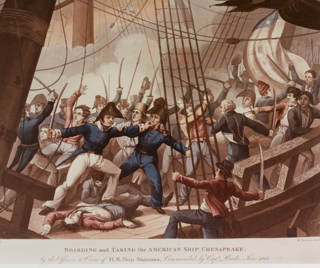 HMS Shannon crew boards and captures U.S. frigate Chesapeake, 1 June 1813.