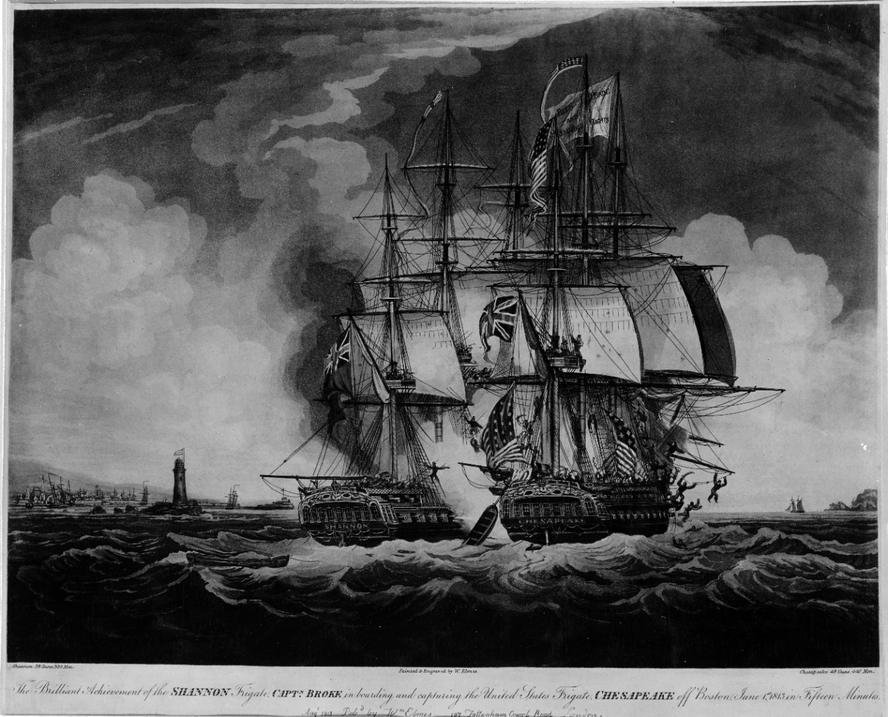 Engagement Between Chesapeake and HMS Shannon, 1 June 1813.