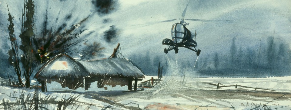 """Evacuation Under Fire,"" painting, watercolor on paper, by Hugh Cabot, 1953 (88-187-AS)."