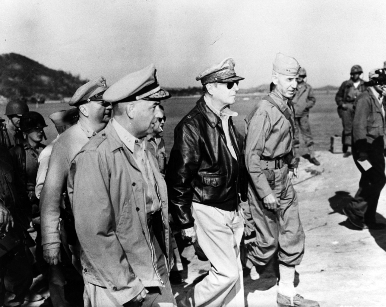 Senior U.S. commanders inspect the Inchon port area, 16 September 1950.