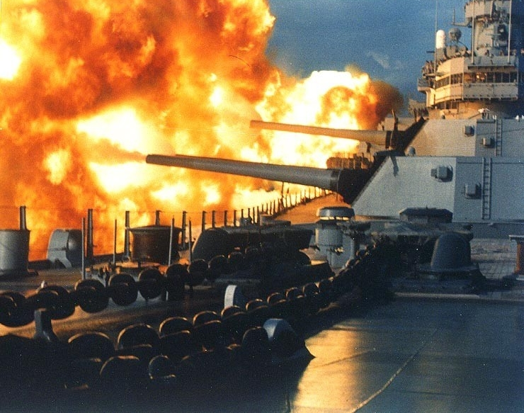 USS New Jersey (BB-62) fires a salvo