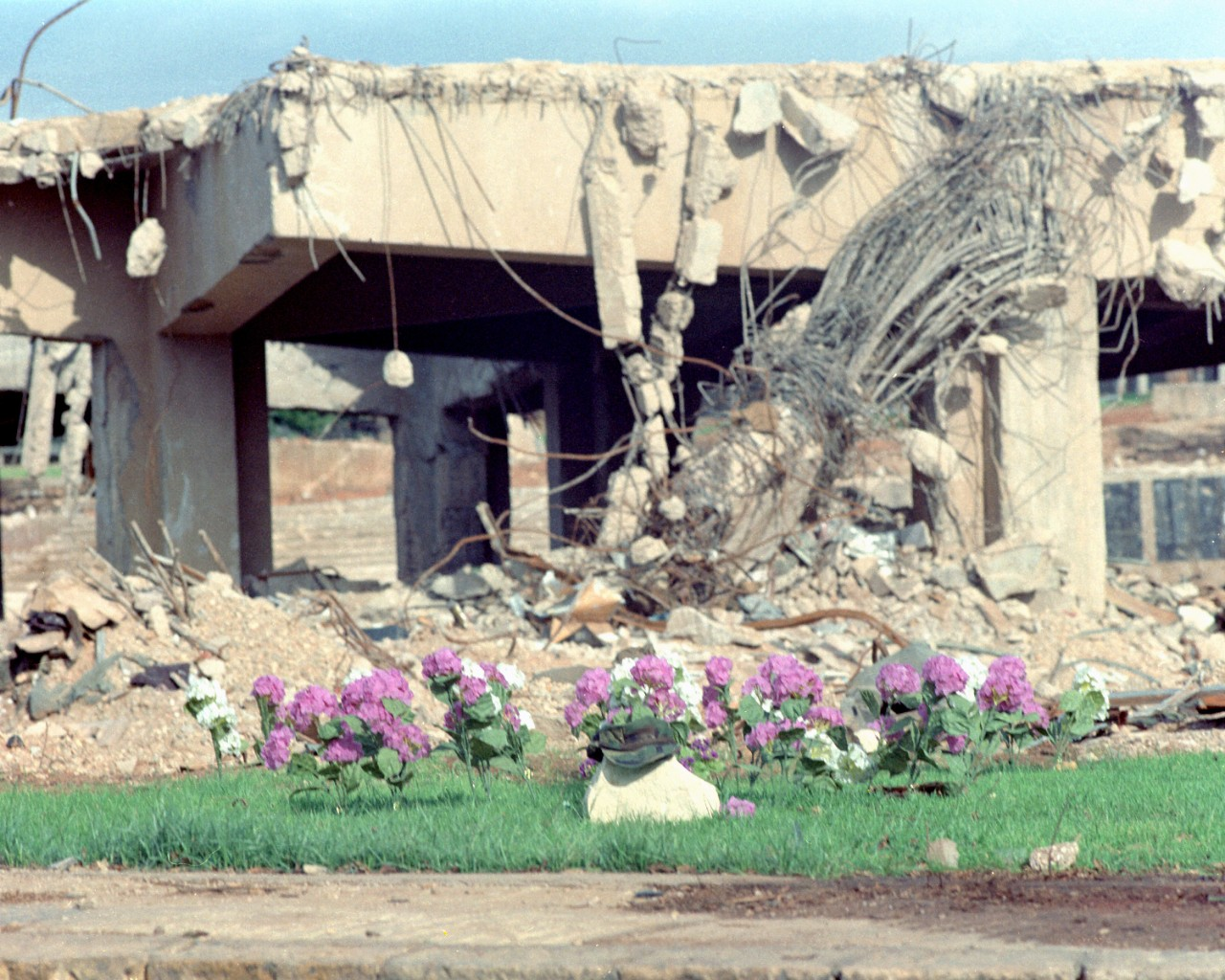 The bombed remains of the U.S. Marine barracks at Beirut International Airport