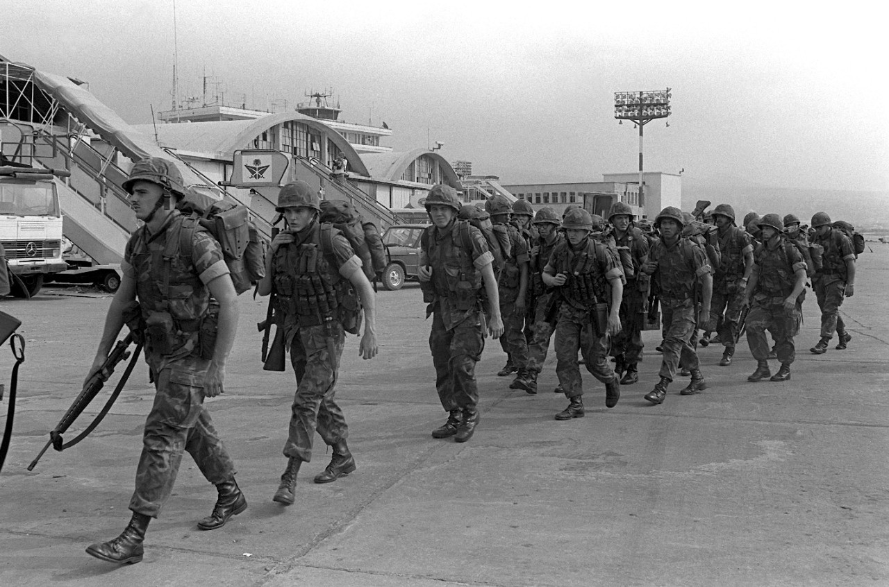 U.S. Marines at Beirut International Airport in Lebanon