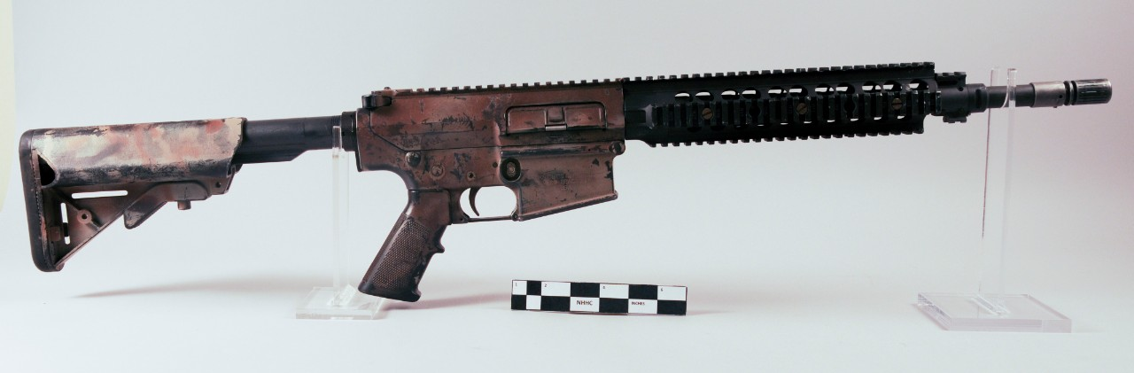 Brown Painted modern rifle SR-25 Stoner 7.62mm MK 1 Mod 0 of MCPO Britt Slabinski