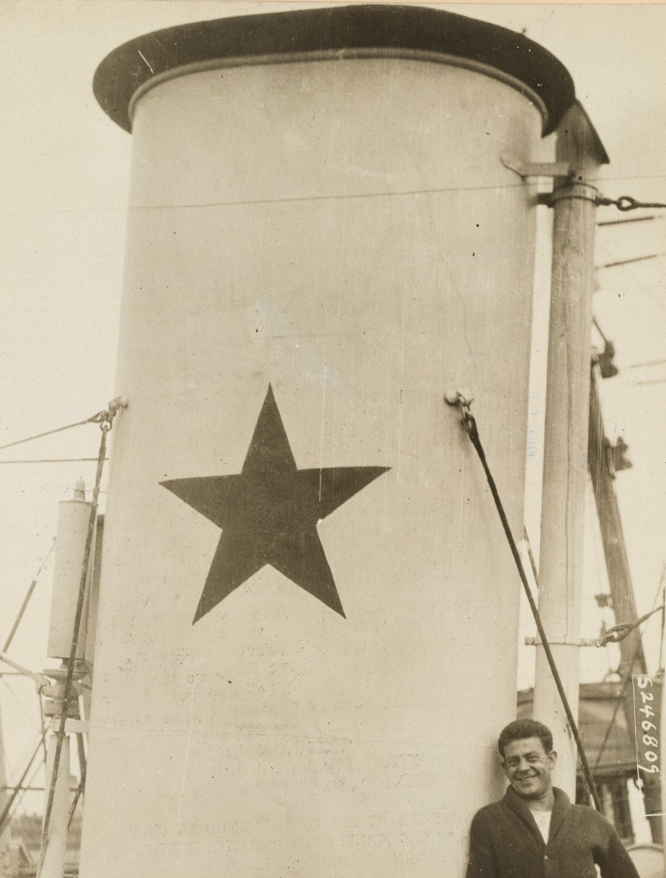 A star on the forward funnel of a U.S. Navy destroyer indicated that it had sunk a German submarine. National Archives 26432980