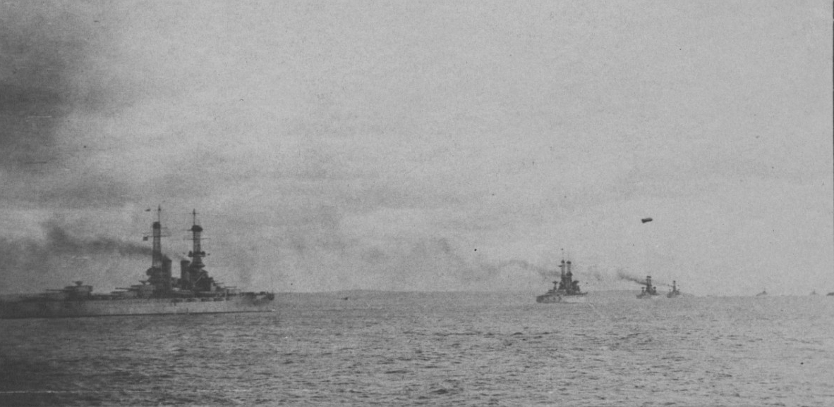 Battleship Division Nine departing Hampton Roads, Virginia, on 25 November 1917