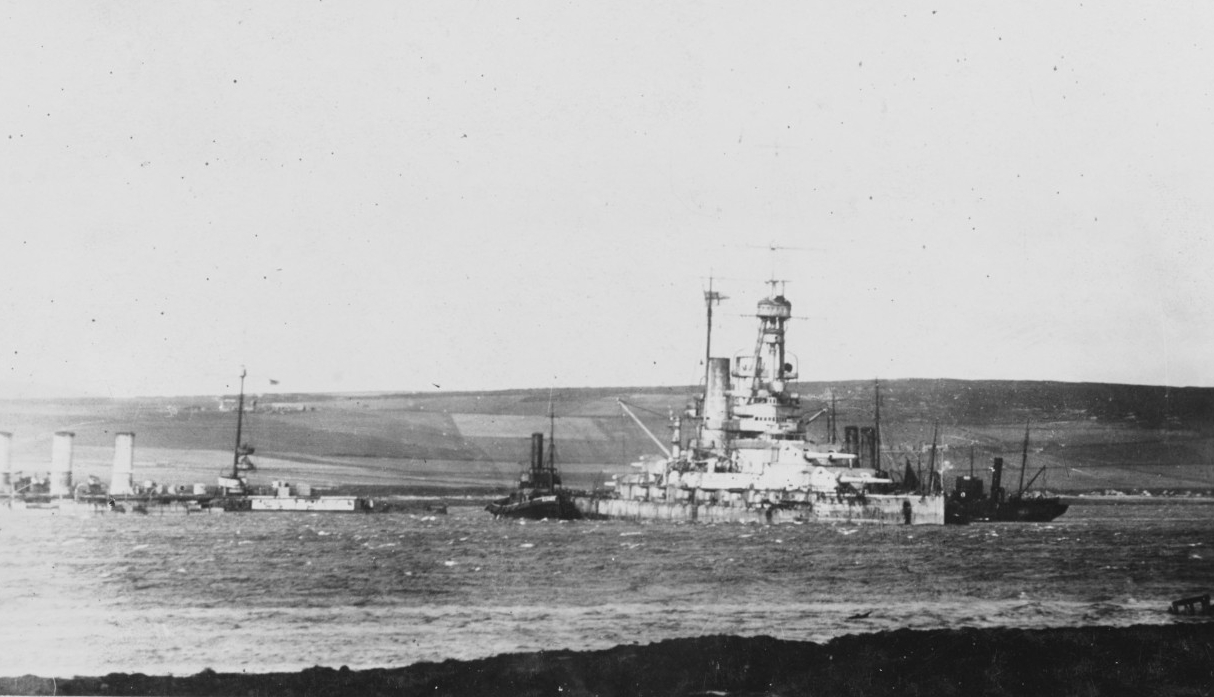 German Warships beached at Scapa Flow after the Scuttling of the fleet on 21 June 1919
